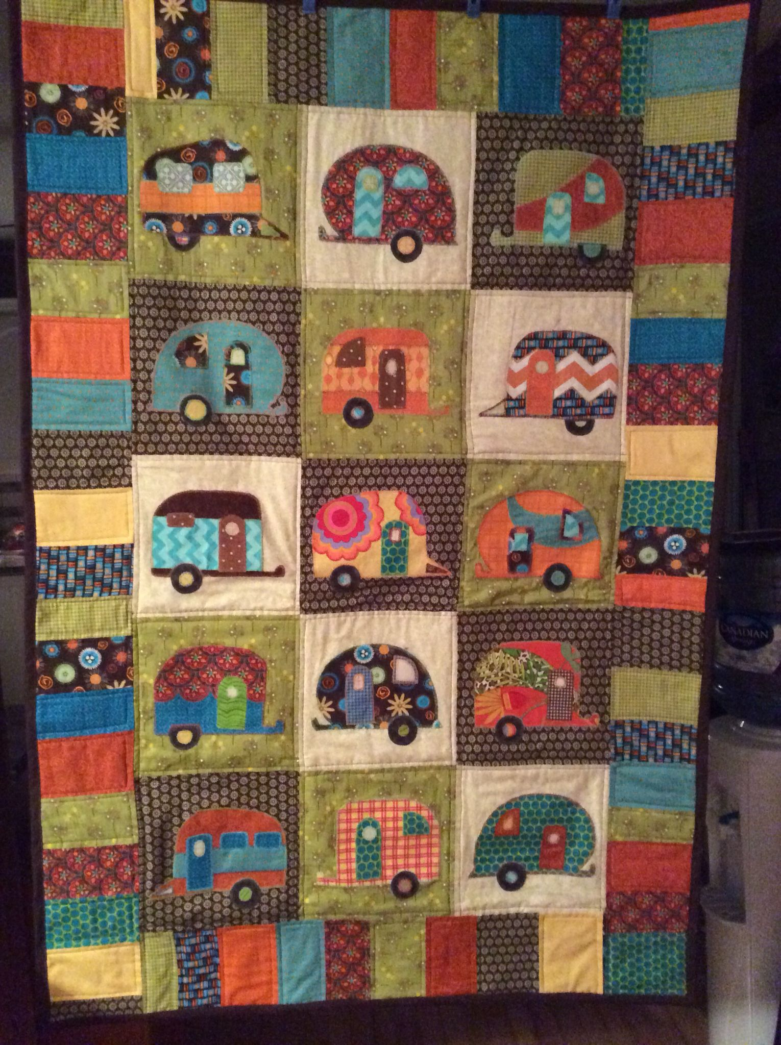 My Camping trailer / Camper / Travel trailer Quilt | Applique ... : camping quilt - Adamdwight.com