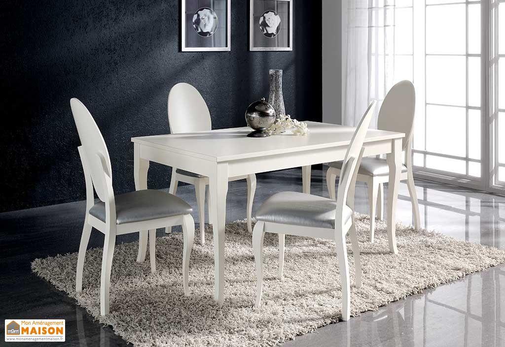 Salle à Manger en Pin Laqué Blanc  Table Extensible 140/200x90