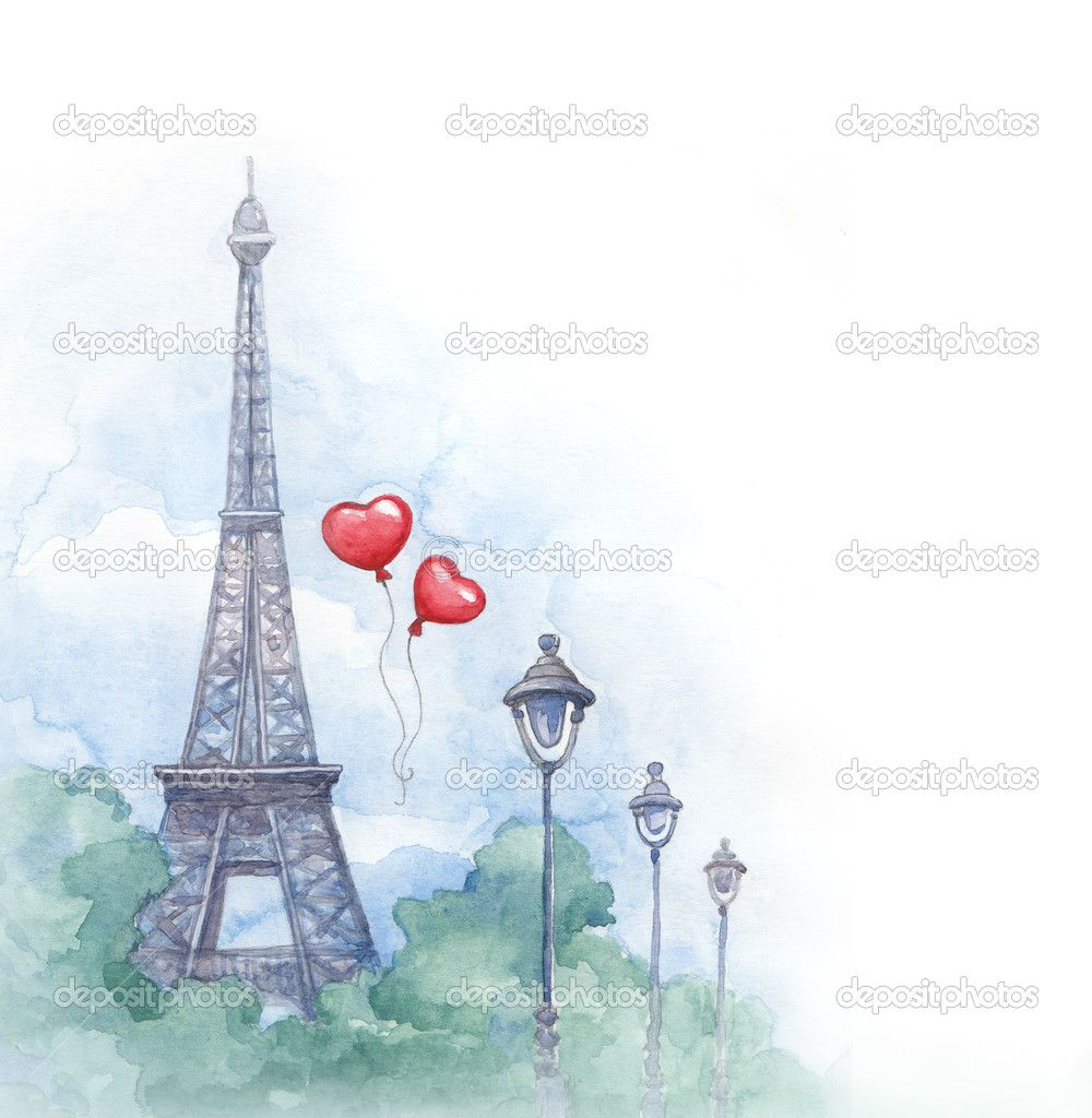 Fundo Aquarela Com Ilustracao Da Torre Eiffel Imagem Stock