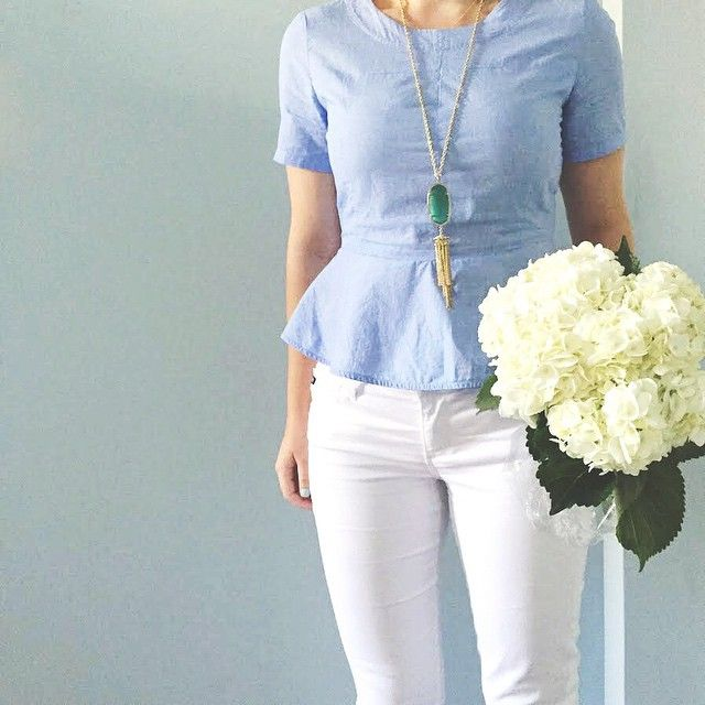 Chambray peplum and white jeans