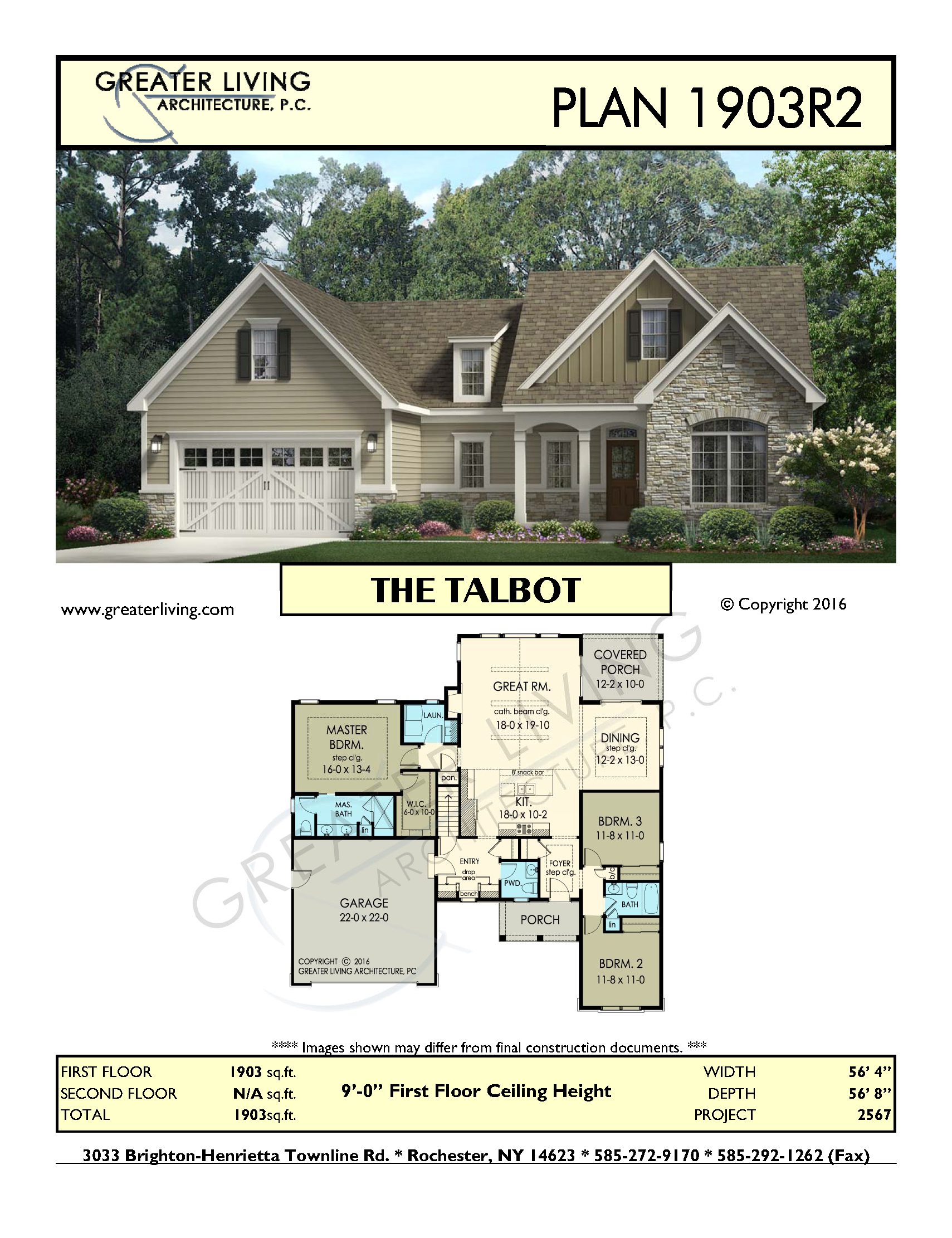 Plan 1903R2: THE TALBOT   Ranch House Plan   Greater Living Architecture    Residential Architecture