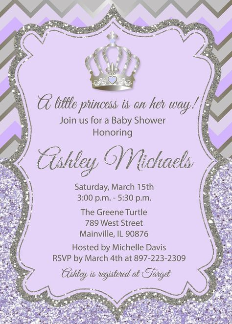 Princess baby shower invitation purple silver glitter sparkle princess baby shower invitation purple silver by prettypaperpixels filmwisefo