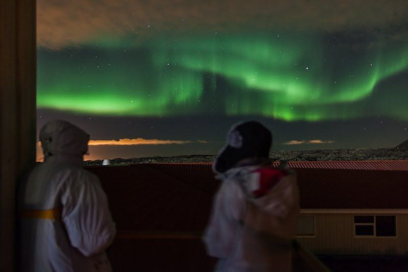 Aurora Borealis from the from Northern Light Inn, Grindavik, south west Iceland.