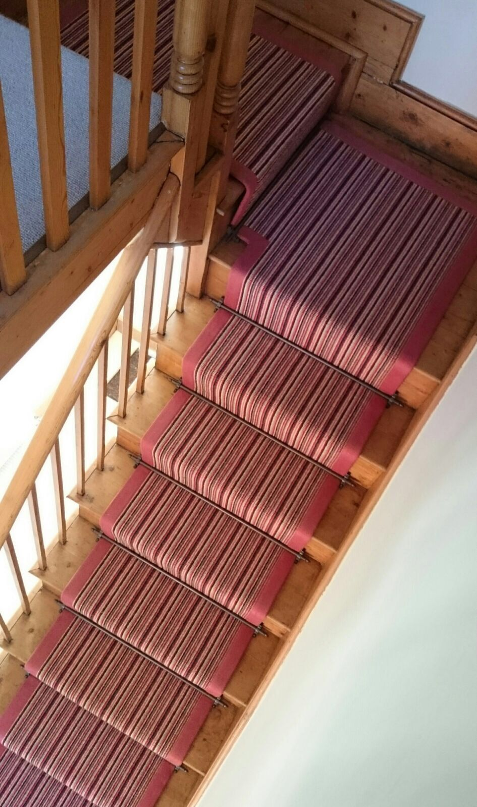 A staircase carpet runner that we fitted in Leicester www