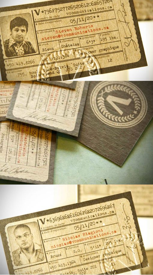 Cool Antique ID Card Letterpress Business Card This design