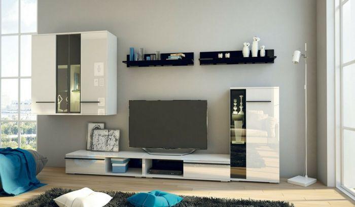 Wohnwand Ideen, Fernsehwand Selber Zusammenstellen, Weiße Schränke,  Schwarze Regale