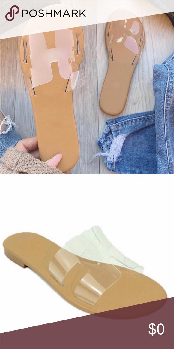 FIRM***Clear flat sandals/slides