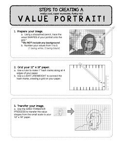 Project ART-A-DAY: Lesson: Value Self Portraits | 5th-6th