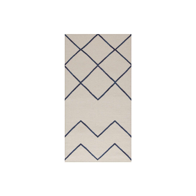 Geometrie 01 matto, offwhite/sininen ryhmässä Matot / Matot @ ROOM21.fi (1027815r)
