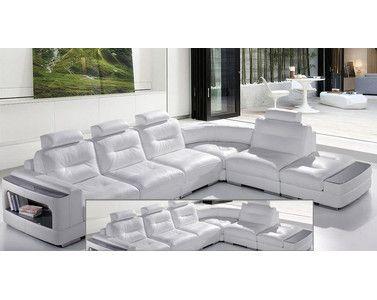 Amplio sof rinconera que incorpora una estanter a de cristal en los brazos a modo de mesita - Mesita auxiliar sofa ...