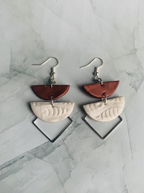 Statement Earrings. Gray and burgandy polymer clay earrings with