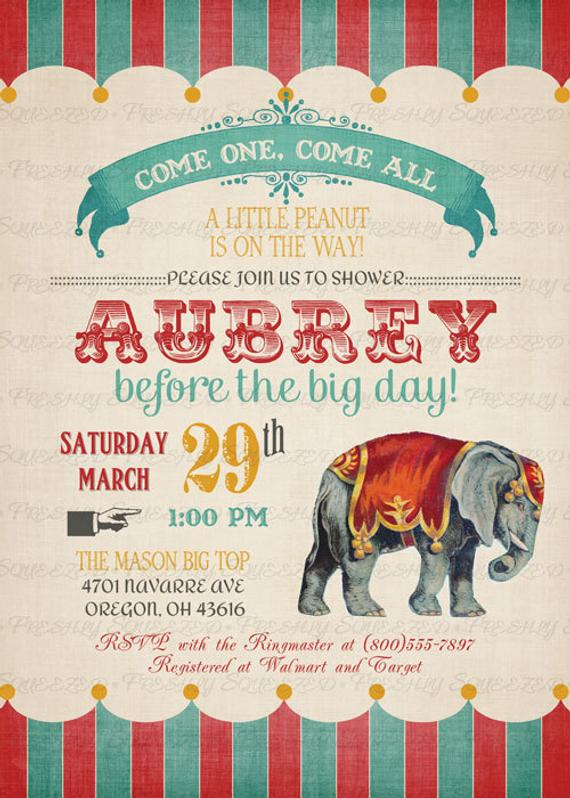 Vintage Circus Baby Shower Invitations With Elephant Digital Printable File