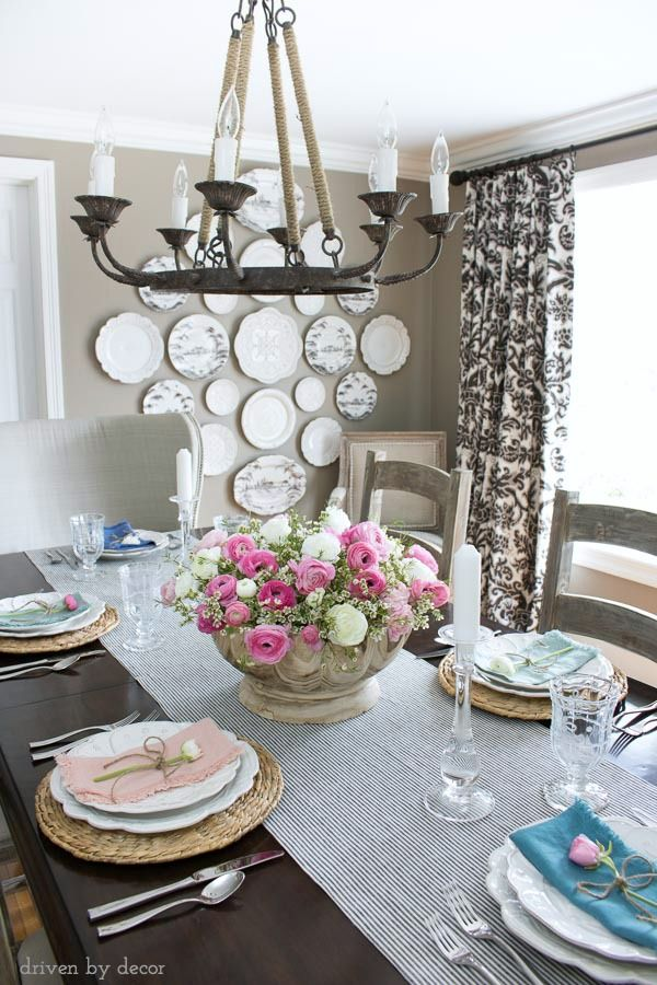 A Beautifully Simple Spring Tablescape With Centerpiece Of Ranunculus In Scalloped Wood Bowl And