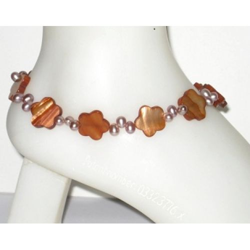 Amber Mother-of-Pearl Flower Anklet with Champagne-Colored Freshwater Pearls by AngieShel Designs at www.angiesheldesigns.com