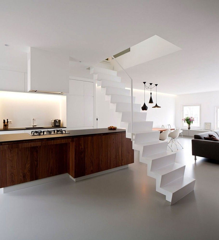 Interior Charming Kitchen With Wooden Countertop Behind White Straight Stair Beside Dining Room And Living