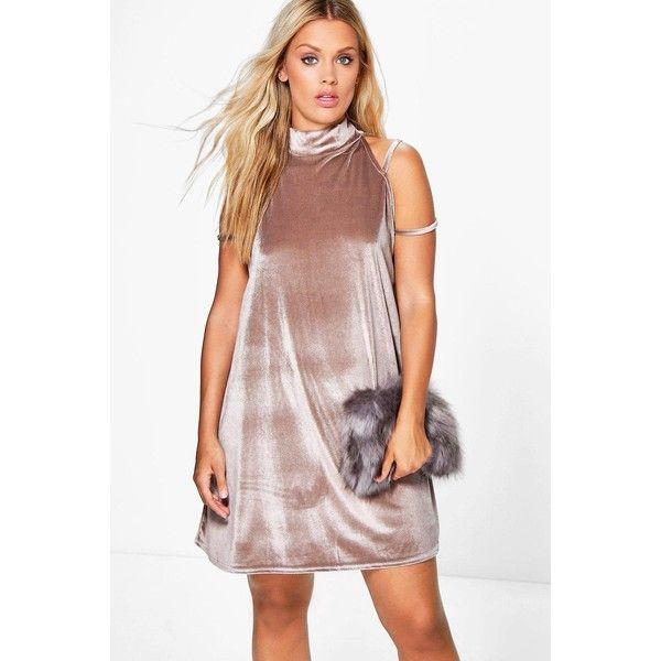 f016d7850babd Boohoo Plus Plus Tilly High Neck Strappy Velvet Swing Dress ($30) ❤ liked  on Polyvore featuring dresses, smoke, spaghetti-strap maxi dresses, velvet  tuxedo ...