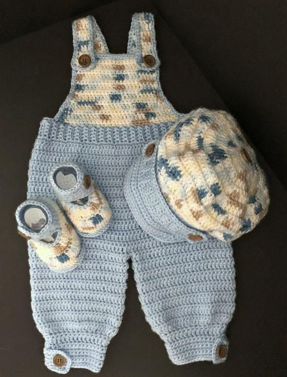 Photo of Baby Boy Crocheted Bib Overalls Outfit