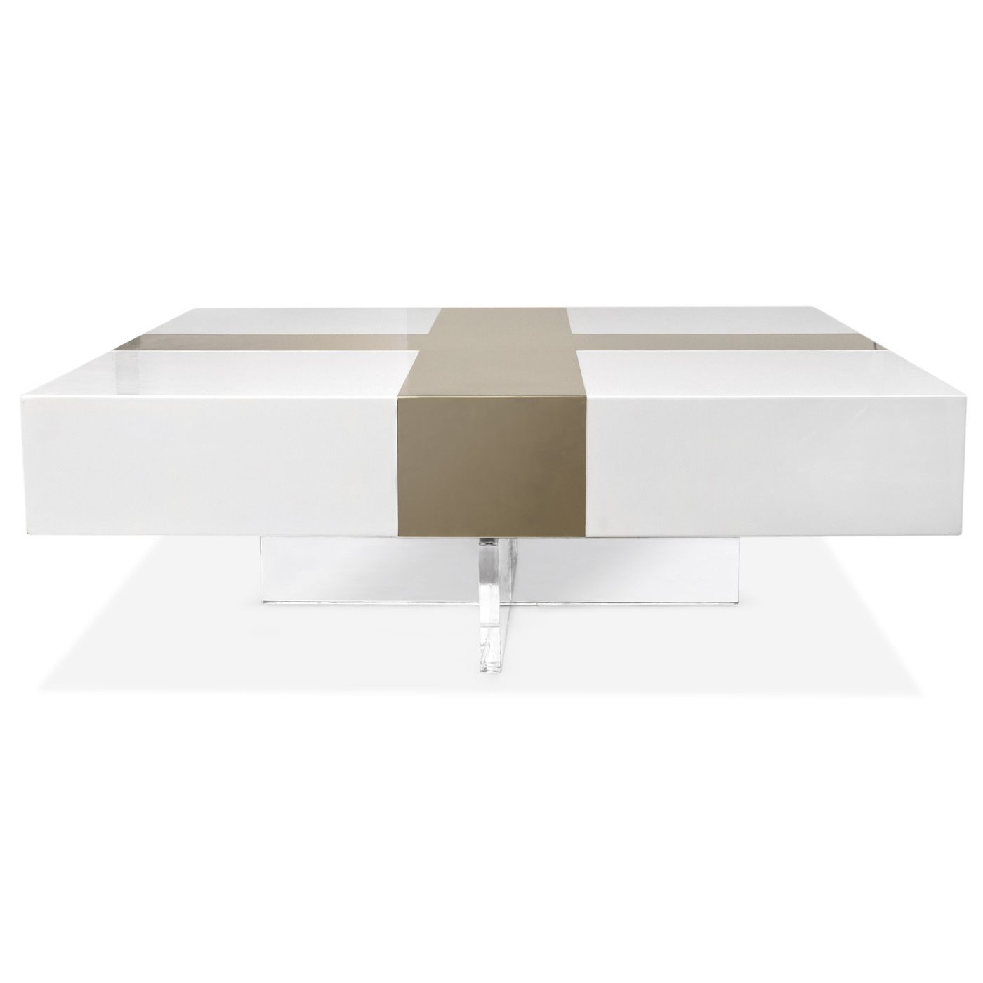 Jonathan Adler Lacquer Brass Inset Cocktail Table Coffee Table