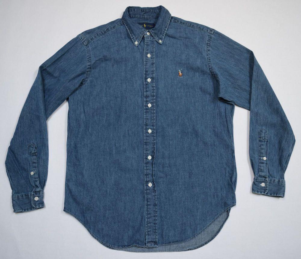 RALPH LAUREN Denim Shirt Blue Jean Classic Fit Pony Logo Cotton L/Sleeve Size M #RalphLauren #ButtonFront