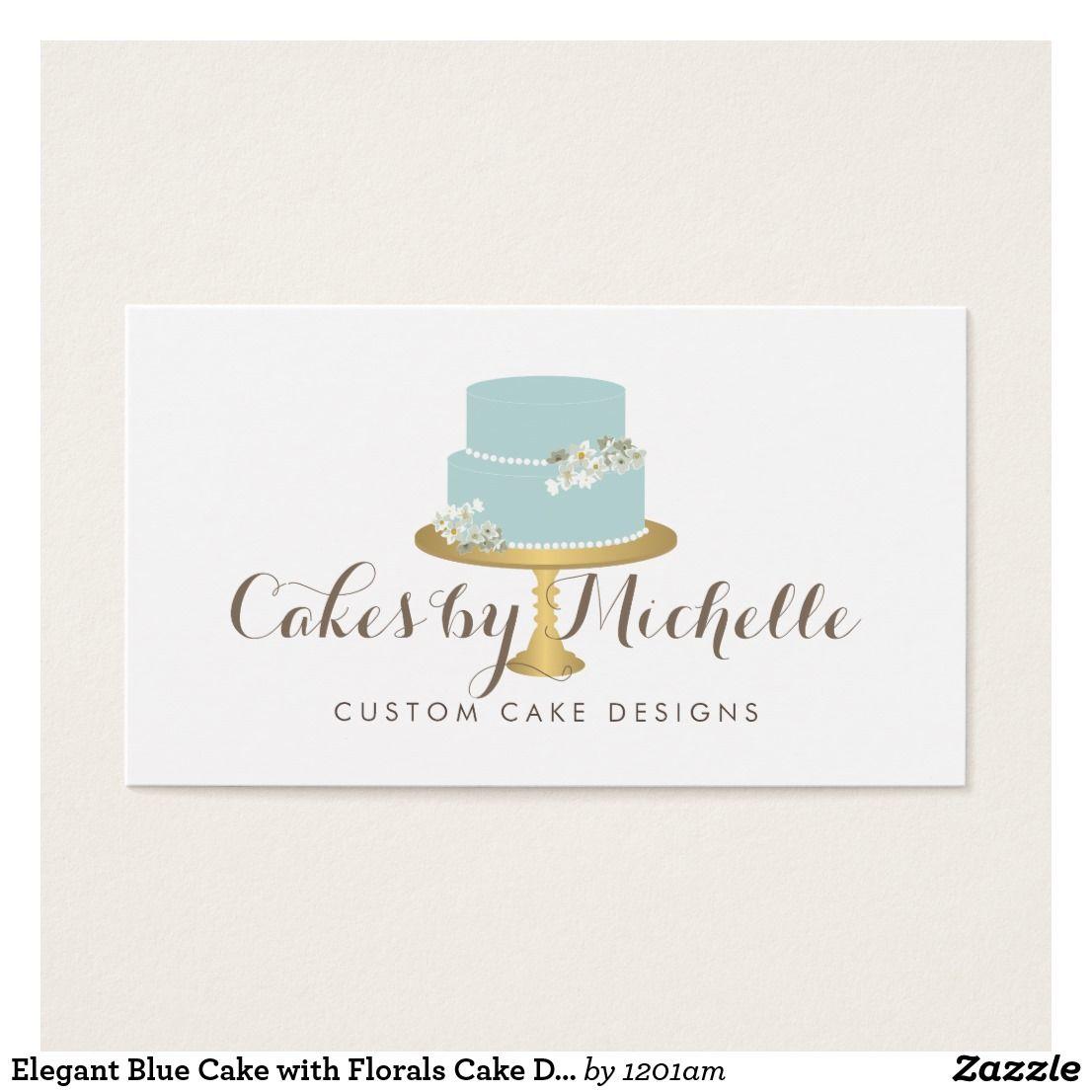 Elegant Blue Cake With Fls Decorating Business Card