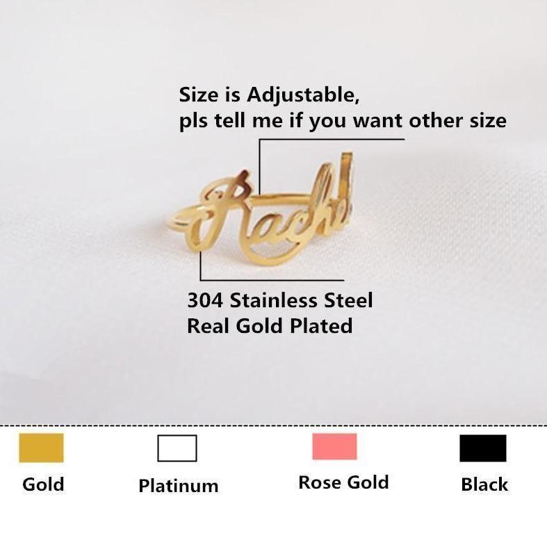 Custom Name Rings 18k Gold Plated – 9 Black Gun Plated