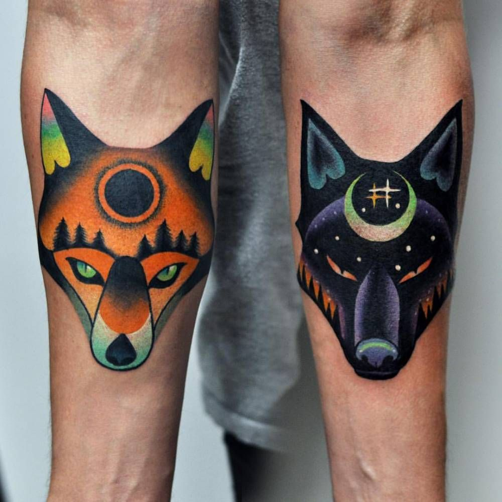 Matching Fox And Wolf Tattoo On Both Forearms Done At Kult Tattoo Fest Psychedelic Tattoos Friendship Tattoos Original Tattoos