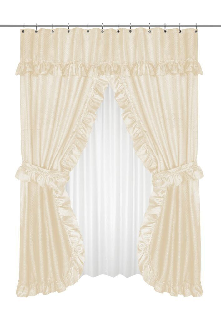 Ruffled Double Swag Shower Curtain With Valance Tie Backs Ivory