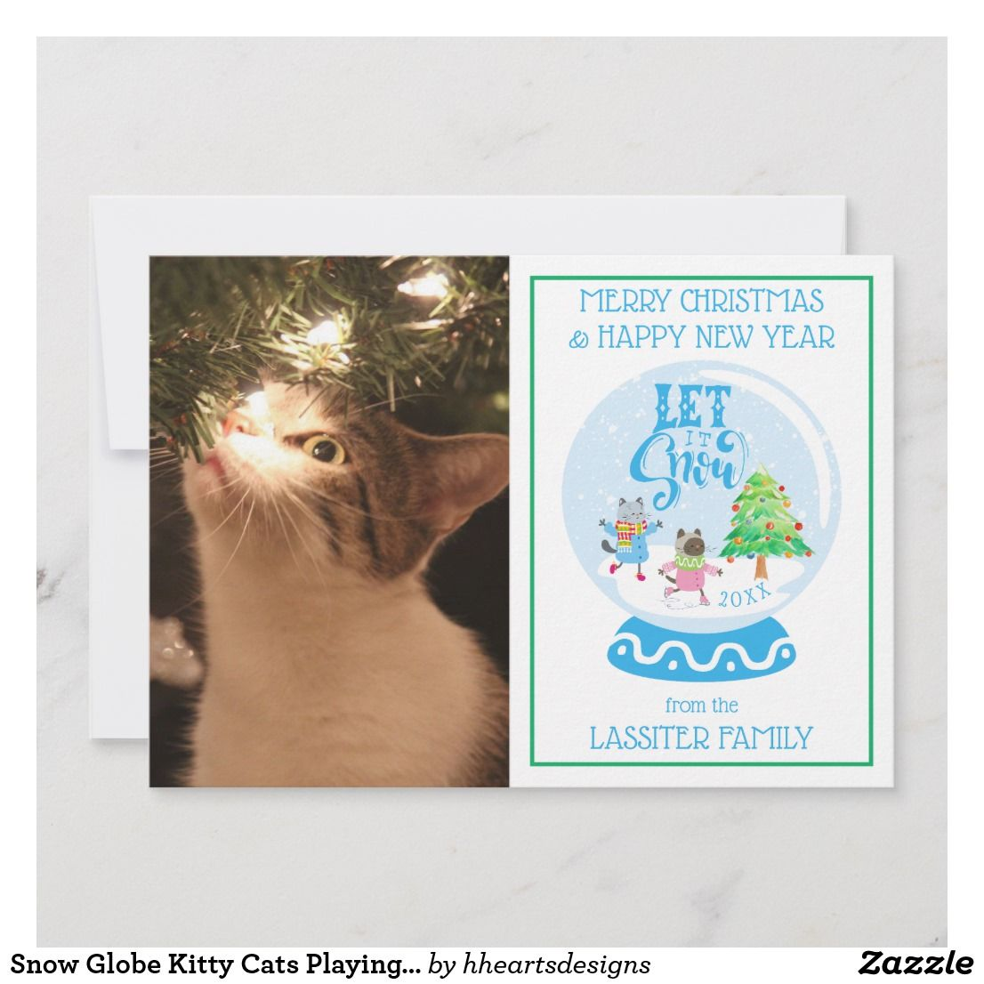 Snow Globe Kitty Cats Playing Holiday Let It Snow Zazzle Com Holiday Design Card Christmas Photo Cards Dog Holiday Cards