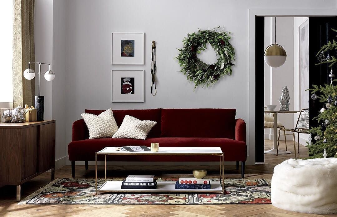 Tuesday Tip Wreath The Benefits In Any Room Tap Link In Bio To Shop Holiday Decor Tisth Burgundy Couch Living Room Living Room Colors Burgundy Living Room