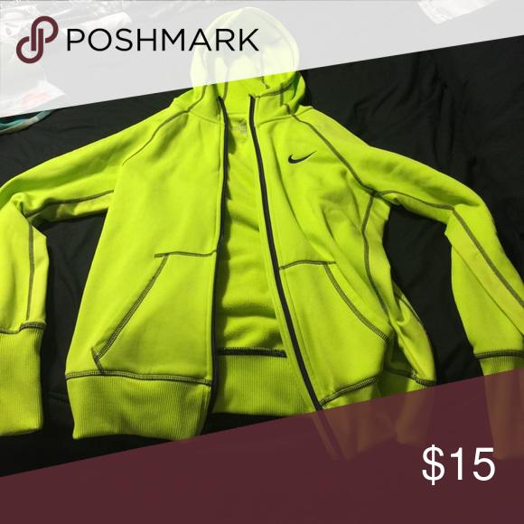 Nike fleece jacket with hood Neon green Nike Therma-Fit fleece jacket Nike Jackets & Coats Utility Jackets