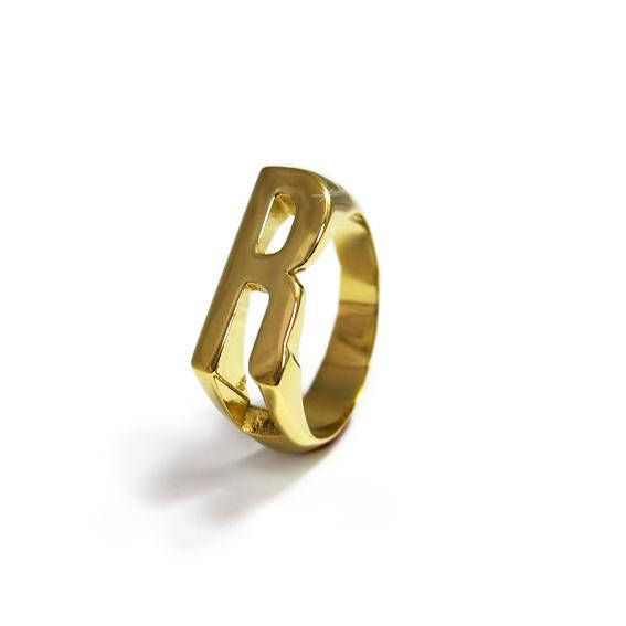 053d94a7c Personalized name Ring, Initial letter ring, Letter R Ring, Alphabet Ring,  Monogram Signet Ring, Gol
