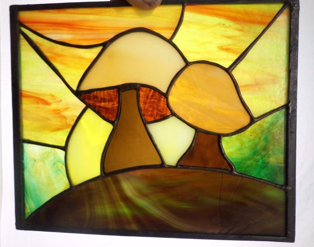 Stained Glass Mushrooms Suncatcher Panel 8\