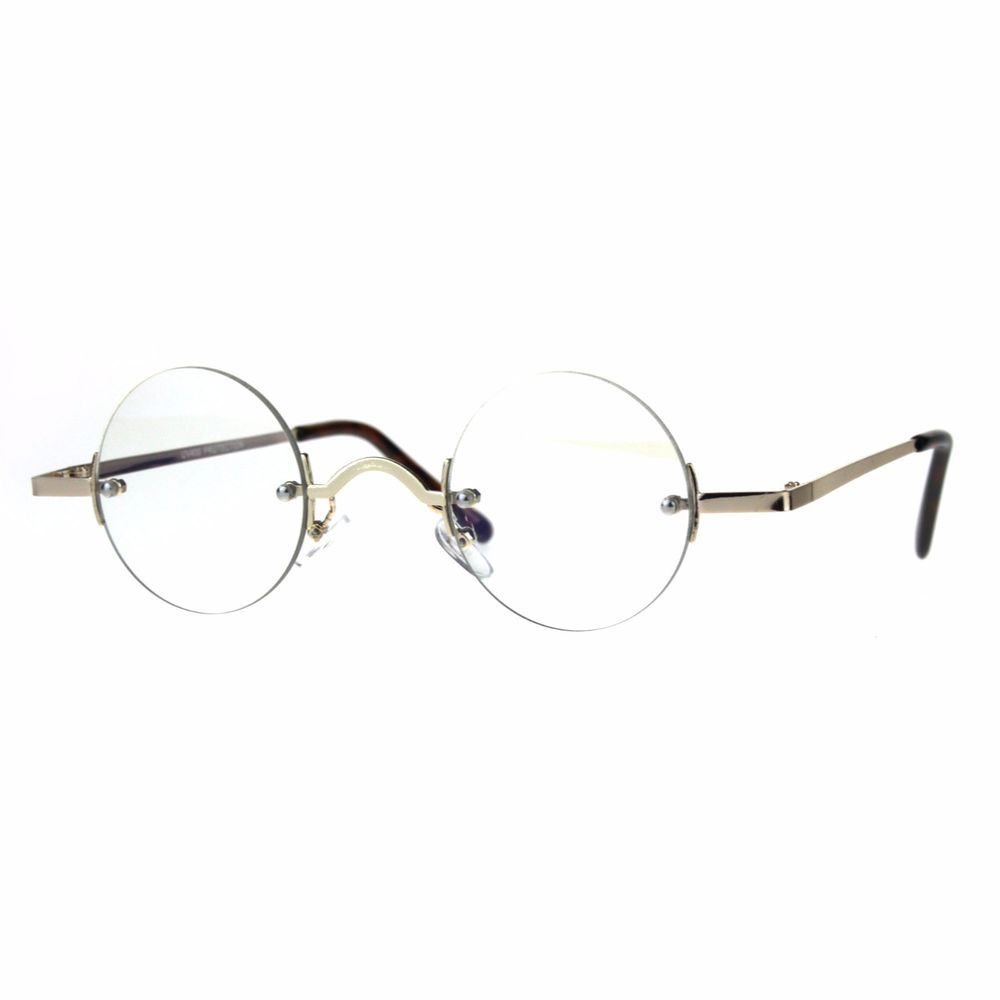 fc9f5893f7 Small Round Circle Clear Lens Rimless Glasses Wide Frame Narrow Lens  PASTL   Round