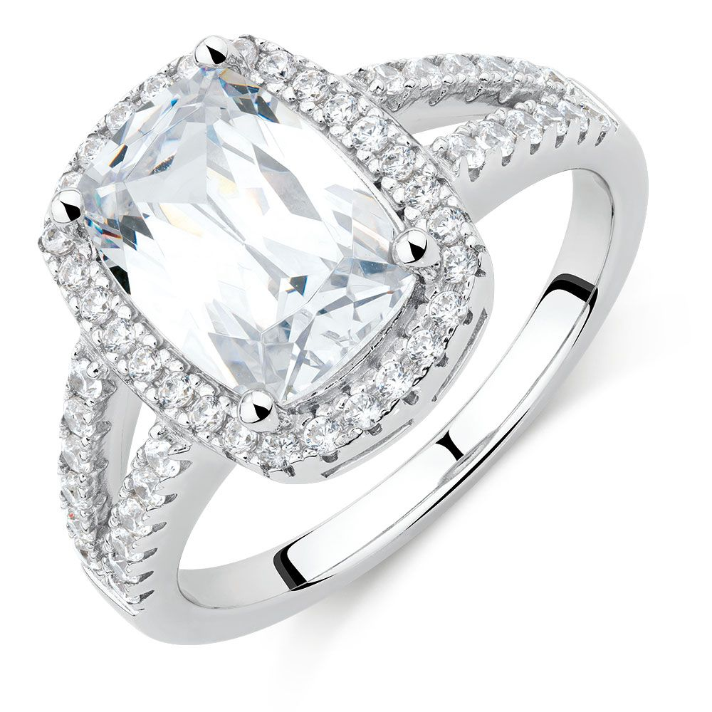 Halo Ring with Cubic Zirconia in Sterling Silver Rings