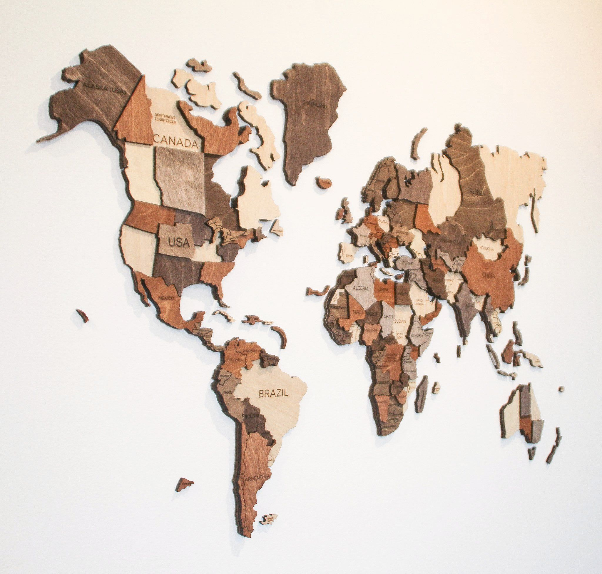 carte du monde bois Carte du monde en bois 3D pour une décoration murale ultra design
