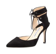 Manolo Blahnik Lara Suede Ankle-Tie Pump, Black - on #sale 55% off @ #Bergdorf  #ManoloBlahnik