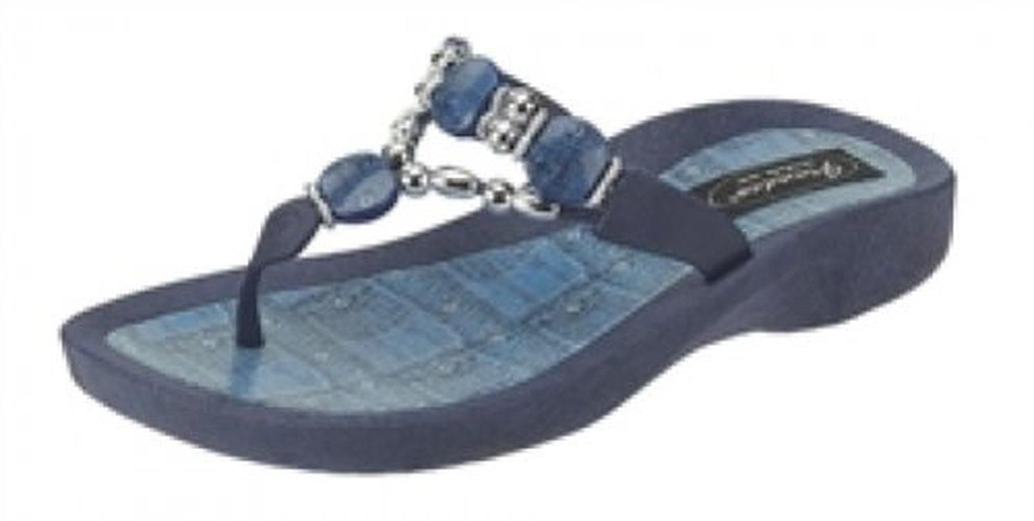 Grandco Denim Beaded Womens Thong Flip Flop Sandal Blue 6 - Brought to you by Avarsha.com