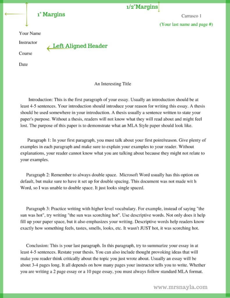 Mla Format Essay Template Best The Basic Of Style 40 Exclusive Templ Paragraph 500 Word Collection 5 Outline Margin