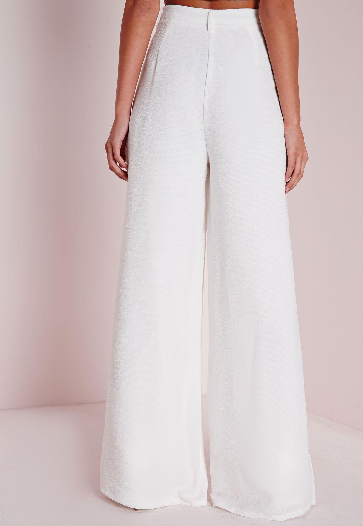 7af1dec0cc3a Missguided Premium Crepe Wide Leg Pants White | Pinterest ...