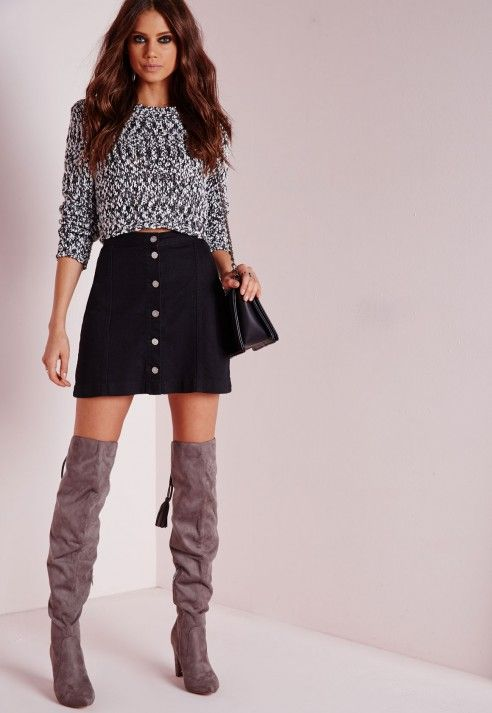 Missguided - Petite a-line button through denim skirt black ...
