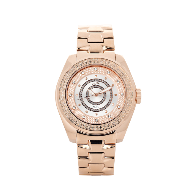 WATCH with crystals, s.steel rose gold bracelet