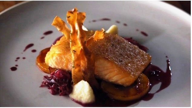 Ginger-Crusted Salmon with Parsnip-Apple Purée, Braised Red Cabbage and Apple Gastrique ¦ Maev Creaven Nutrition
