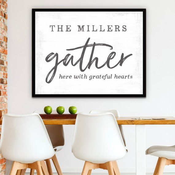 Gather Family Last Name Signs Personalized Wall Decor Christmas