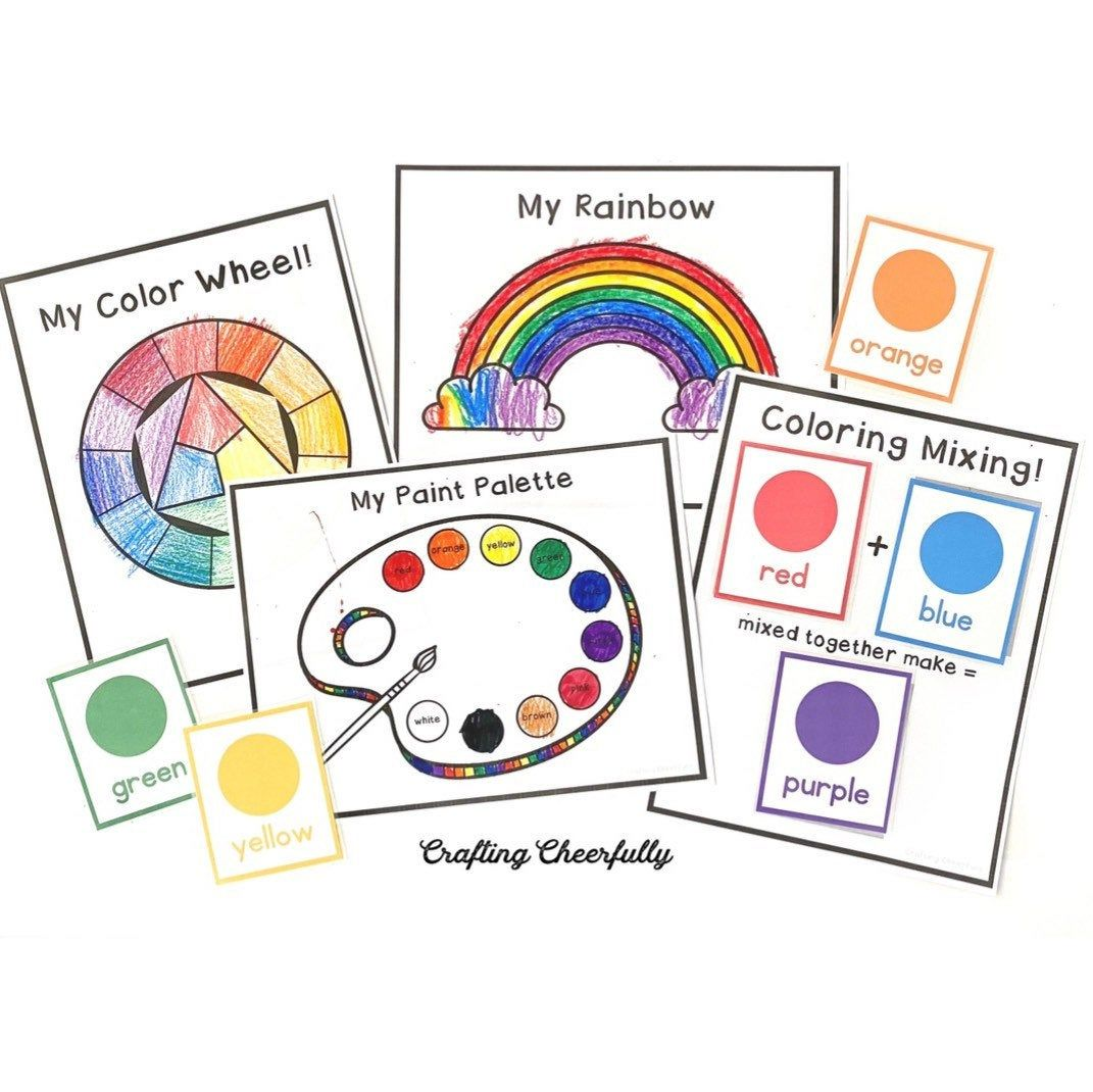 Digital Packet Of Color Themed Learning Cards And