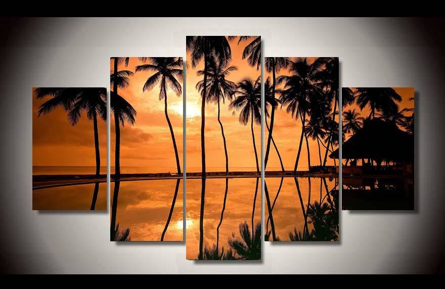 Framed-Printed-hawaiian-font-b-beach-b-font-font-b-sunset-b-font-5-piece-picture.jpg (880×572)