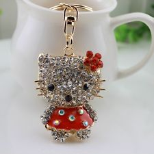 New Orange cat Crystal Keychain Keyring Handbag Accessory Charm Pendant gift