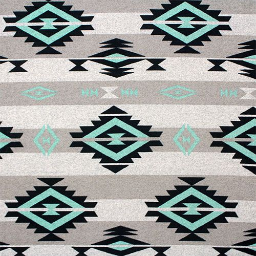 Turquoise Black Navajo Blanket Hacci Sweater Knit Fabric