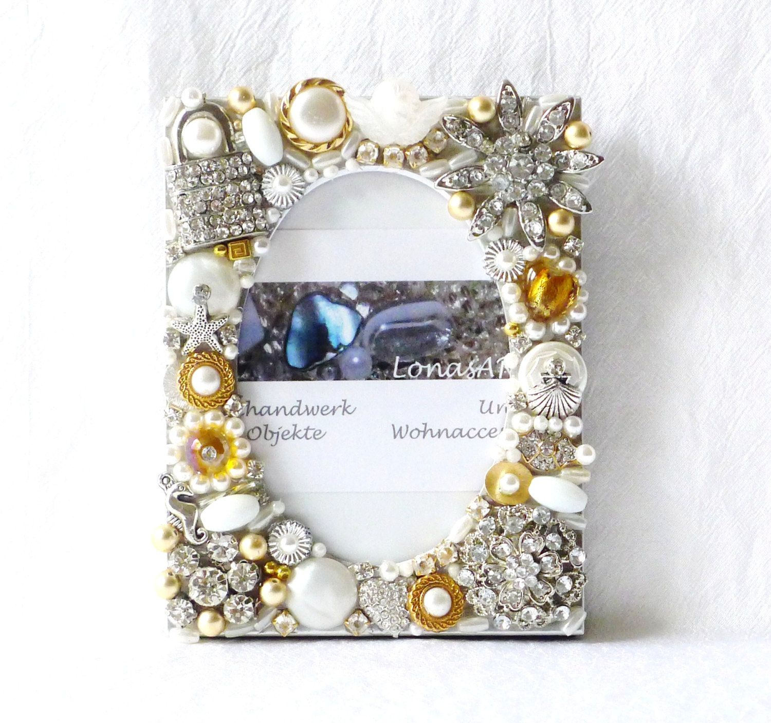 Repurposed Jewelry Frame Silver And Gold Frame Rhinestone Frame Mothers