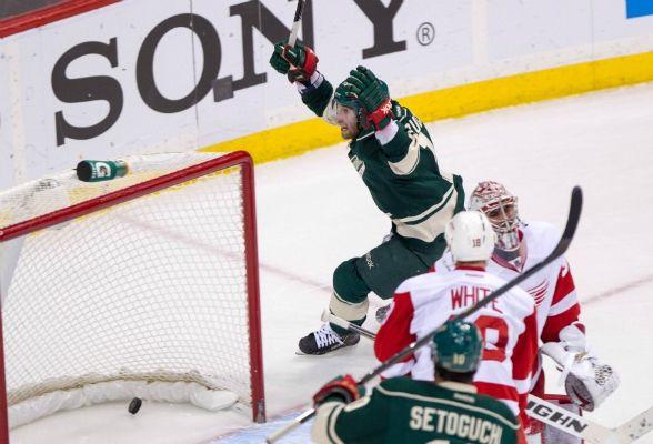 Minnesota Wild Forward Jason Zucker 16 Celebrates After Scoring