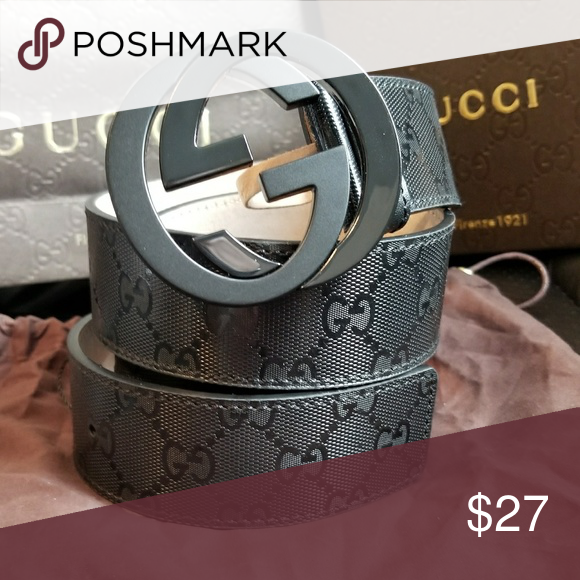 27285b4992c0 💗Authentic Gucci Belt Black Shiny Imprime Print 💗Authentic Gucci Belt  Black Imprime Monogram Print with Black GG Buckle. Hot! *1.5